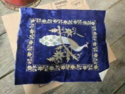 Vintage Embroidery Needlepoint Tapestries Antique Art Deco Estate Peacock Silver