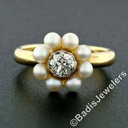 Antique Victorian 18k Gold European Diamond Solitaire And Pearl Halo Cluster Ring