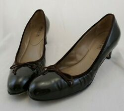Vintage Anyi Lu Dark Brown Patent Leather Size 41 / 10 Heels Pumps Shoes Italy