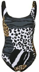 Nwt Womenandrsquos Moschino Swimsuit With Patchwork Animalier Print Multi Size 4