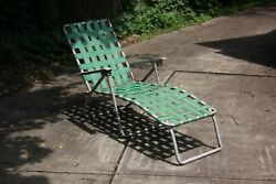 Webbed Vintage Aluminum Folding Chaise Lounge Lawn Chair Green Webbing