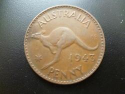 Australia One Penny Coin 1943 In Good Used Condition, Bronze Features Kangaroo