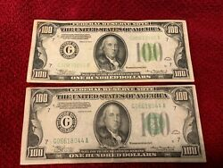 1934 - 100 Federal Reserve Note Bills Two - G Chicago - Light Green Seal