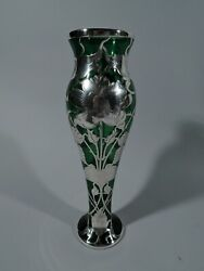Antique Vase - Art Nouveau - American Green Glass And Silver Overlay