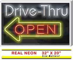 Outdoor Drive-thru Open Neon Sign Left Arrow | Jantec | 32 X 20 | Take Out Bbq