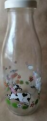 Glass Le Parfait Cow Milk Jug From France With Glasses Cows And Flowers