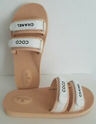 Iconic Baywatch Beige White Coco Logo Pool Slides Flip Flop I Love Shoes