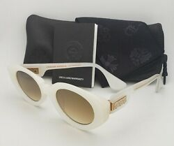 New CHROME HEARTS Sunglasses VAJAMMIN' White & Gold Frames Brown Gradient Lenses