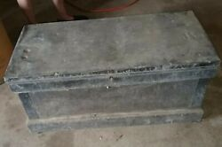 Antique Wood Metal Large Tool Box Chest Wheels Lock And Key
