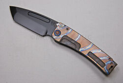 Medford Knife Marauder-h W/ And Ti Handles Flm/faced And Ti Hdw Flamed 285