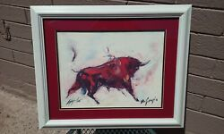 Ted Degrazia 1909-1982 Signed Limited Edition Lithograph Art Print Red Bull Az
