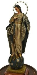 Madonna, Religious Wax Figure Virgin St. Mary, Continental Under Dome, Antique