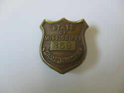 Antique Early Issue Mississippi Fish And Game Warden Regulator Hunting License Pin
