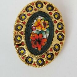 Vintage Italian Micro Mosaic Pin Brooch Glass Tiles Floral Gold Colorful Jewelry
