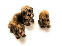 Set Of 3 Basset Hounds Collectible Fugurines