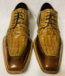 Mens Genuine Crocodile Lace Up Loafer Dress Shoes Vero Cuoio Size 8.5