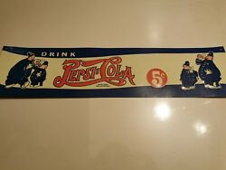 1940 Pepsi Cola Double Dot Embossed Tin Sign Advertising Rare Pig Police Comic