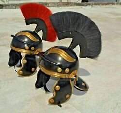 Medieval Roman Centurion Helmet Collectible Armor Black And Red Plume Armour Helm