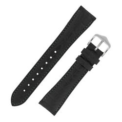 Hirsch Aristocrat Croco Embossed Calf Leather Watch Strap And Buckle In Black