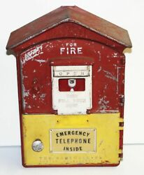 Vintage Gamewell Fire Alarm Call Emergency Pull Box Phone Telephone -red Andyellow
