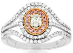 Wide .71ct White And Pink Diamond 14kt White And Rose Gold Oval Halo Engagement Ring