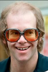 Elton John's Personally Owned and worn Orange Sunglasses with RX Lenses