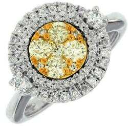 .89ct White And Fancy Yellow Diamond 14k White Gold Round Cluster Double Halo Ring
