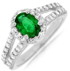 1.45ct Diamond And Aaa Emerald 14k White Gold 3d Oval And Round Halo Engagement Ring