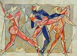 Beautiful Modernist Cubist Oil On Canvas Of Dancers Illegibly Signed Lr 30 X 40
