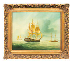 Antique Painting Boats Warships At Sea American School 1800s Gorgeous Colors