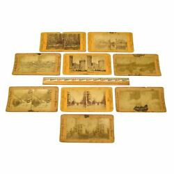 Antique Stereoscope Card Lot Of 9 European-american And American Stereoviews