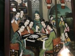 Rare One Chinese Reverse Paintings Ladies On Glass Best Hand Painted Superb