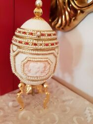 Only One Faberge Antique Music Jewlry Box Natural Egg Handcraft 24k Gold Fabergé