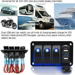 4 Gang Toggle Rocker Switch Panel With Usb For Car Boat Blue Led Universal Ip67