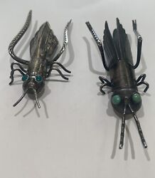 Vintage Sterling Silver And Turquoise Grasshopper Pins