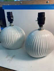 Vintage Pair Of Beautiful Pattern Designed Oval Ceramic Lamp Bases Set No Shades
