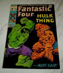 Fantastic Four 112 Nm+ 9.6 Ow Pages 1971 Marvel Hulk Thing Battle Cover