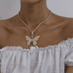 Butterfly Choker Necklace Crystal Silver Gold Handmade Jewelry Lady Wedding Gift $3.99