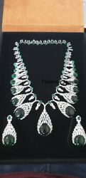Cabochon Deep Green Emerald With Brilliant Cz Gorgeous Women Silver Jewelry Set