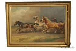 Benyovszky 1898-1969 Mid Century Framed Oil Painting Of Running Horses