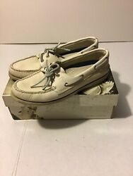 Womens Size 8 M Sperrys Top Sider Leather Slides White Leather