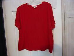 JM Collection Size XL Red Short Sleeve Pull Over Casual Top Stretchy $5.49