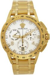 Nwt Versace Men's Swiss Chronograph Sport Tech Gold Ion-plated Stainless Steel