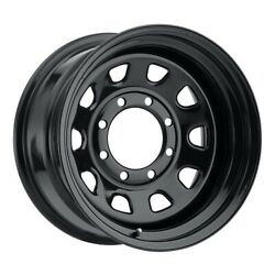 16x8 Vision Hd 84h D-window Gloss Blk Wheel 8x6.5 -6mm Set Of 4 Caps Separate