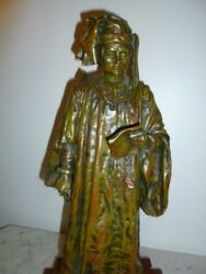 Large French Bronze Sculpture 16th Century Venetian Judge Red Marble By Colombo