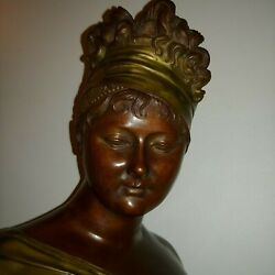Stunning Antique French Bronze Bust Of Madam Randeacutecamier Signed Houton 1890s