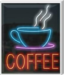 Outdoor Coffee With Cup Neon Sign   Jantec   27 X 32  cafe Black Tea Cold Brew