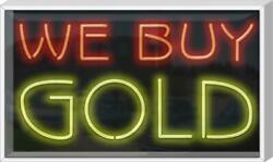 Outdoor We Buy Gold Neon Sign | Jantec | 37 X 22 | Pawn Shop Silver Loan Light
