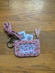 Vera Bradley Iconic Zip Id Case And Lanyard Sweethearts And Flowers Nwt
