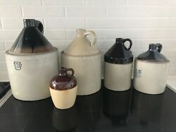 Collection Of 5 Stoneware Pottery Vintage Whiskey Moonshine Ceramic Jugs